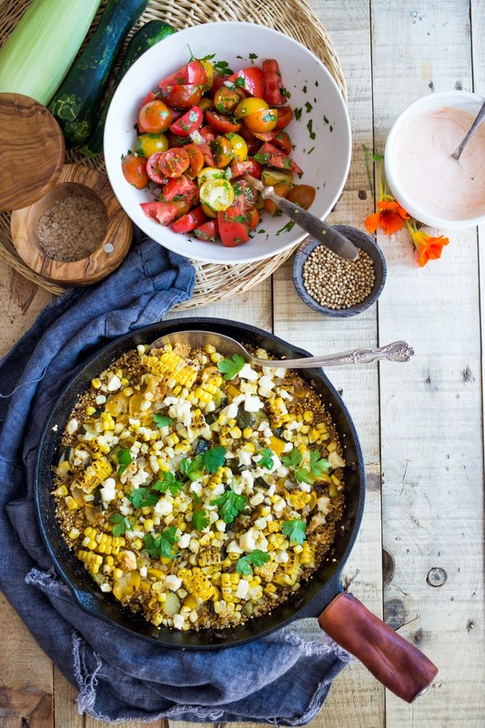 Baked Quinoa with Charred Corn and Zucchini