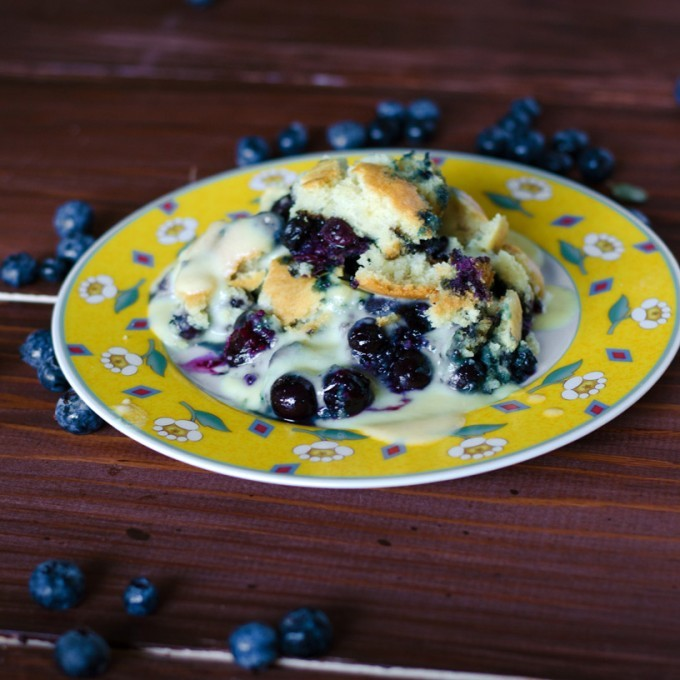 Blueberry Cobbler with Fireball Crème Anglaise