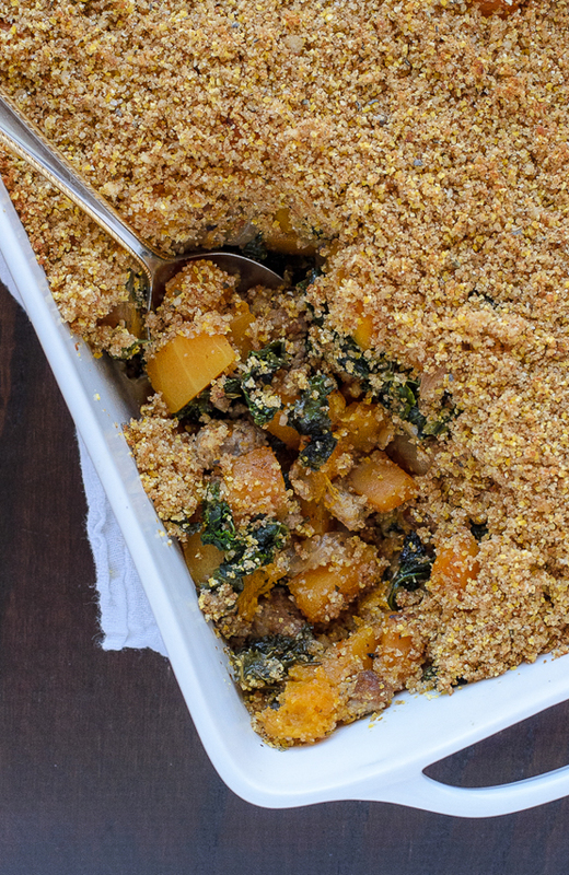 Healthy Butternut Squash Casserole with Sausage and Sage Breadcrumbs