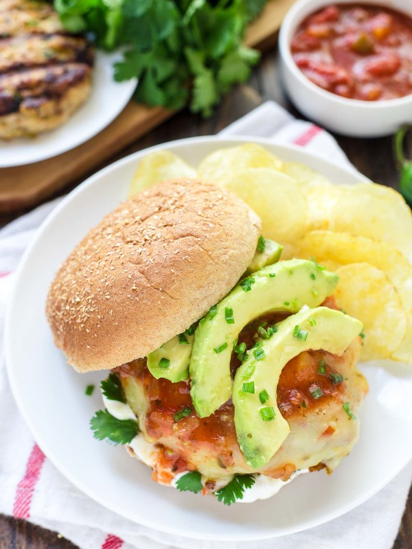 Green Chile Grilled Chicken Burgers