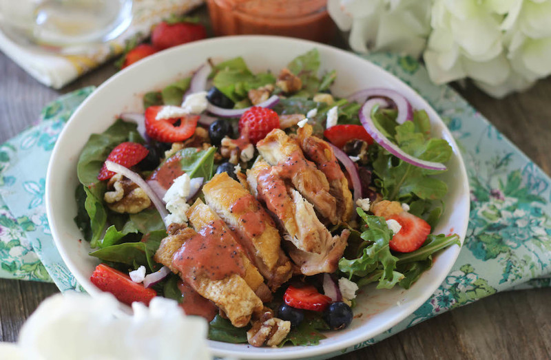 Crispy Chicken Berry Salad with Strawberry Poppyseed Dressing