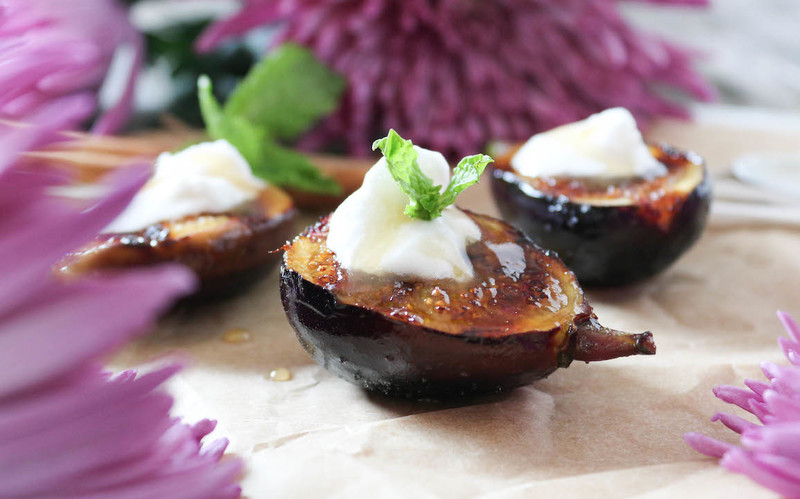 Grilled Figs with Coconut Whipped Cream & Apple Cider Caramel