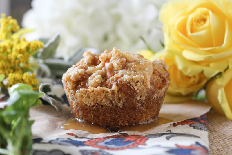 Pumpkin Apple Streusel Muffins with Apple Cider Caramel