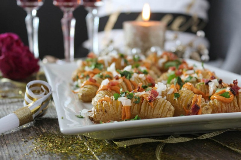 New Year's Eve Fingerling Hasselback Loaded Potato Bites
