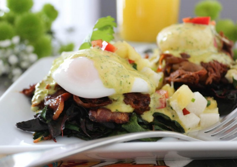 Barbacoa Eggs Benedict with Chimichurri Hollandaise