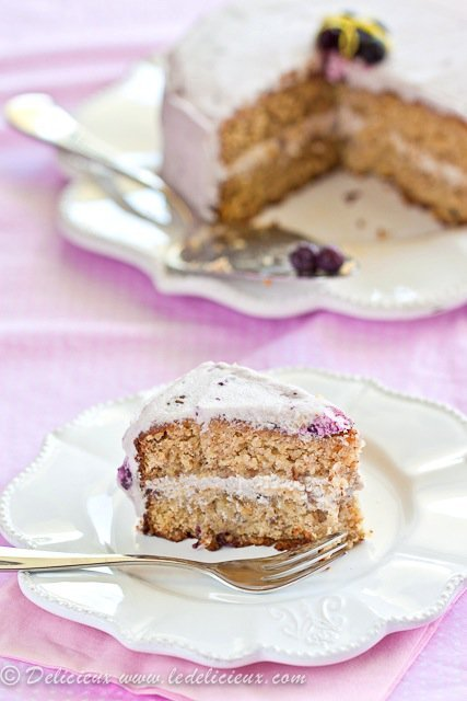 Gluten Free Lemon Cake with Blueberry Frosting