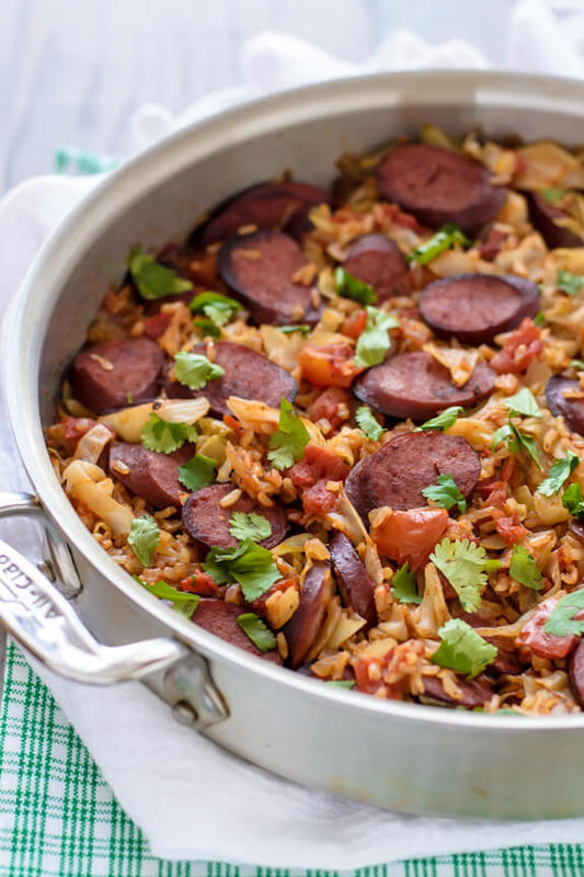 One Pan Cabbage and Sausage Skillet with Rice