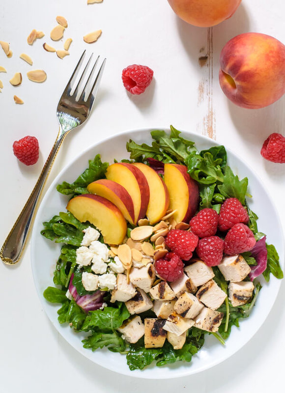 Peach Salad with Grilled Chicken and Raspberries
