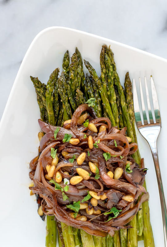 Roasted Asparagus with Caramelized Onions and Pine Nuts