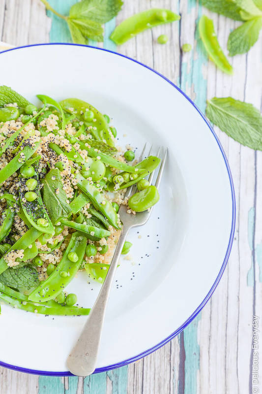 Green Spring Salad with Quinoa and a Lemon Mustard Dressing {vegan}