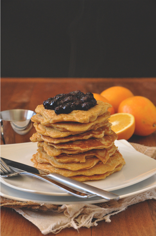 Whole Wheat Griddle Cakes with Blueberry Orange Compote