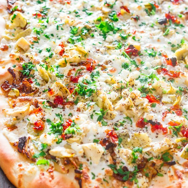 Artichoke, Sun Dried Tomatoes and Goat Cheese Pizza