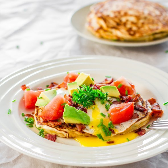 Corn and Chive Pancakes with Bacon and Eggs