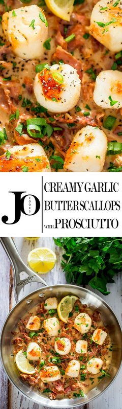 Creamy Garlic Butter Scallops with Prosciutto