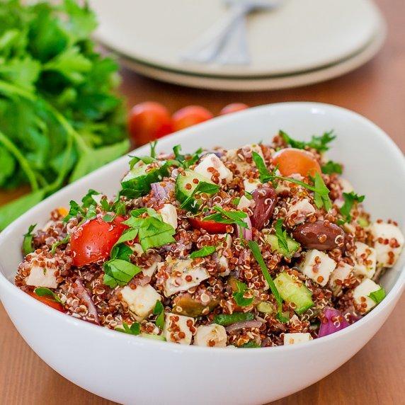 Greek Chicken Red Quinoa Salad