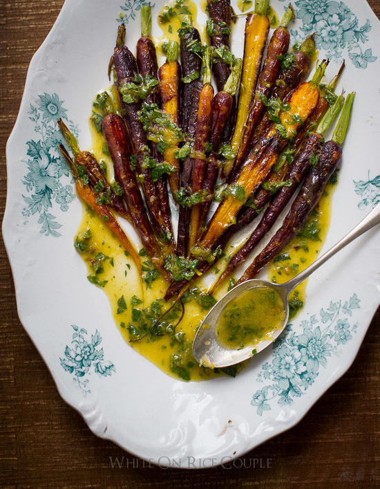 Roasted Carrots with Mint Lemon Dressing
