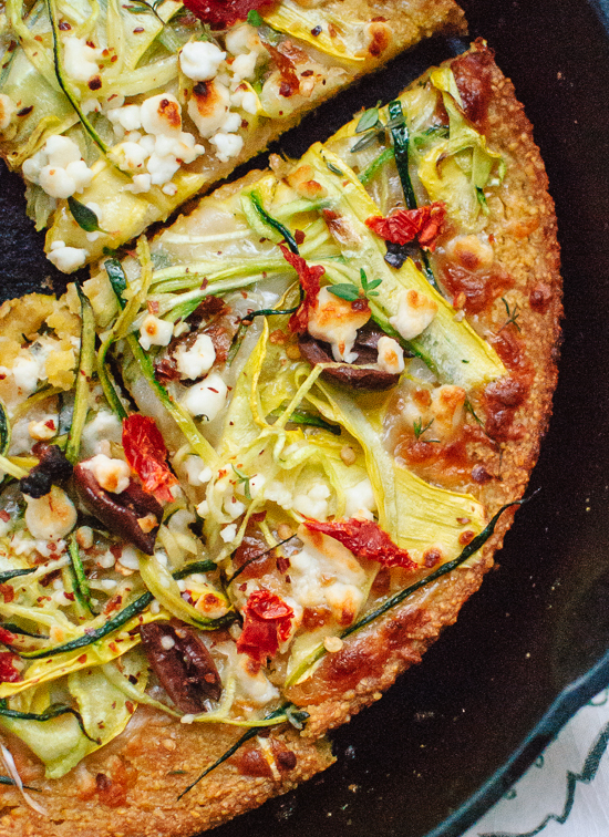 Socca Pizza with Summer Squash and Feta