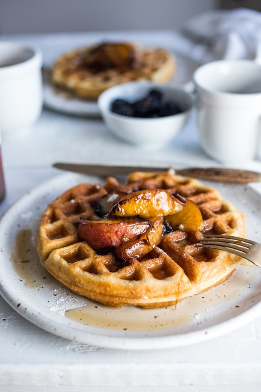 SOURDOUGH WAFFLES WITH MAPLE GLAZED PEACHES