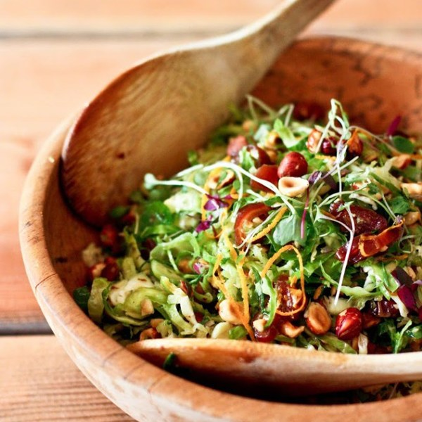 Brussel Sprout Salad with Hazelnuts and Dates
