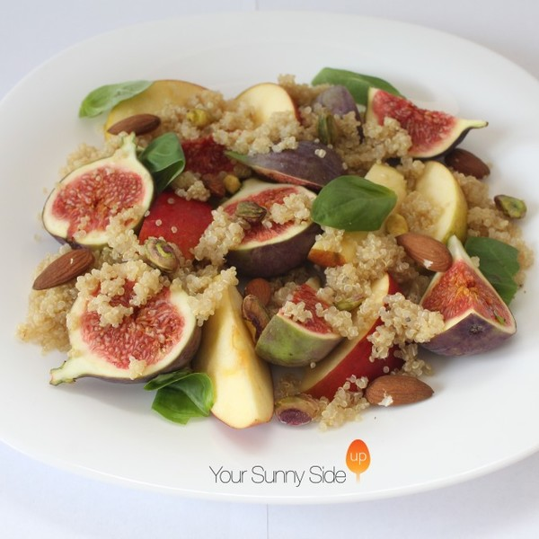 Fig and Apple Quinoa Salad with Almonds and Pistachios