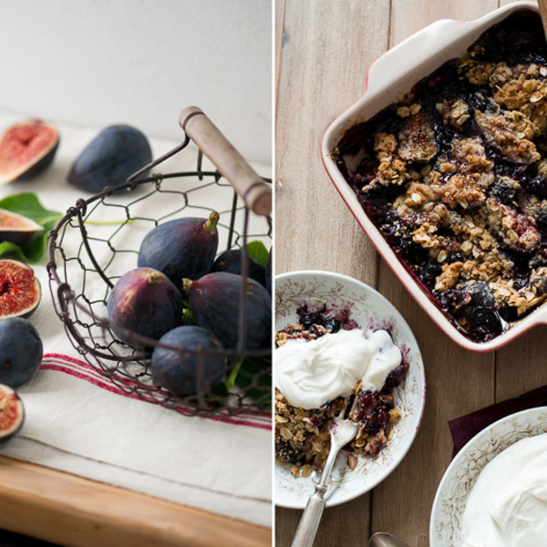 Sticky Fig-Blueberry Crisp with Goat Cheese Whipped Cream