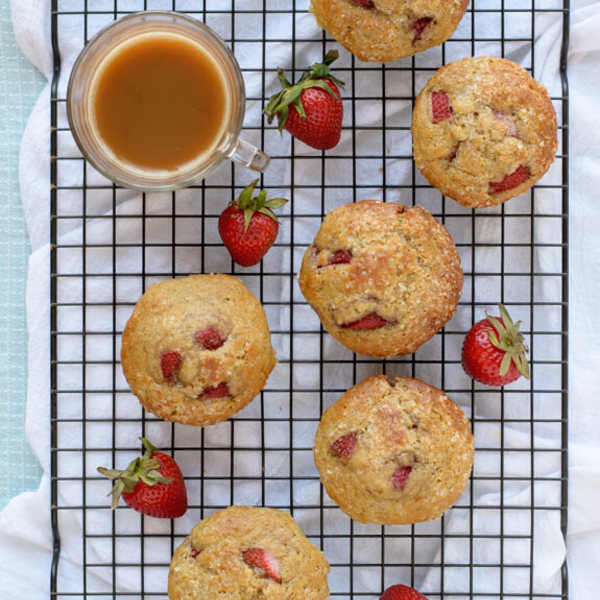 Strawberry Vanilla Yogurt Muffins
