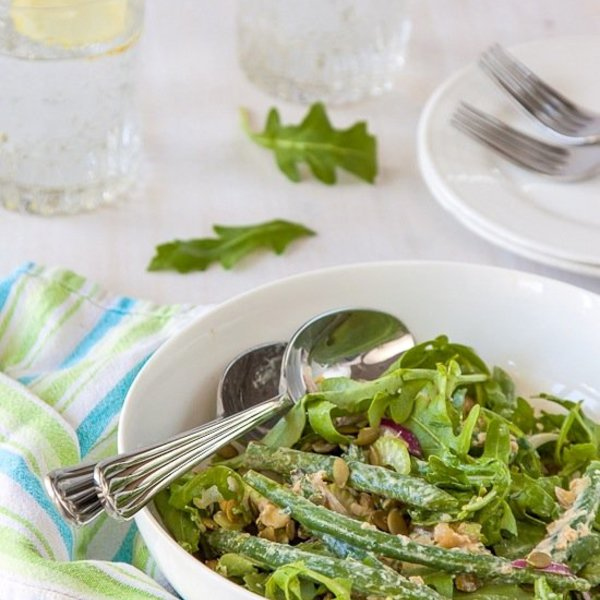 Green bean salad with yoghurt miso dressing