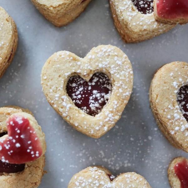 Valentine's Day Raspberry Caramel Shortbread Sandwich Cookies