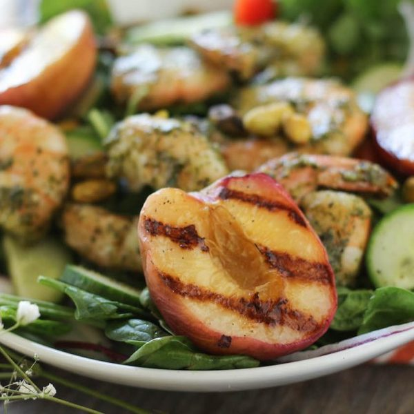 Pesto Shrimp & Grilled Peach Salad