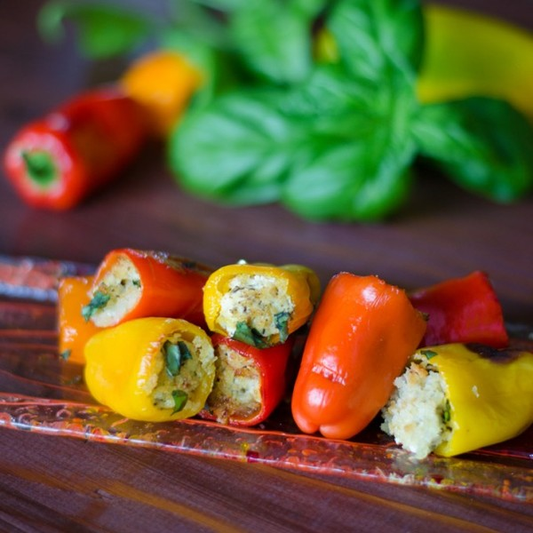 Pesto Goat Cheese Stuffed Peppers