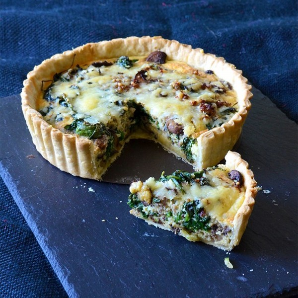 Weekend Brunch: Spinach, Mushroom & Sausage Quiche