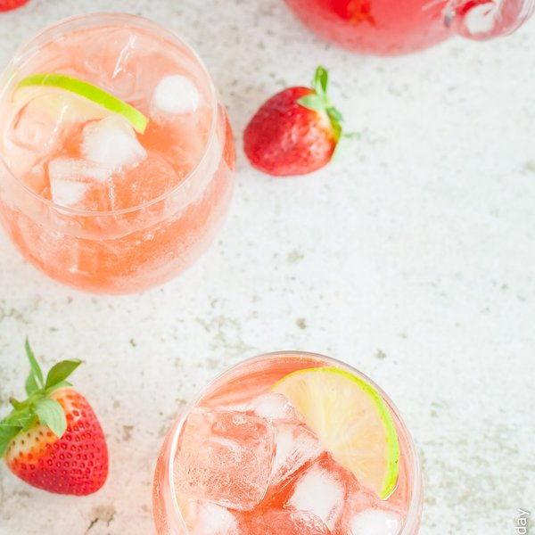 Strawberry, Lime and Rhubarb Syrup Sparkler