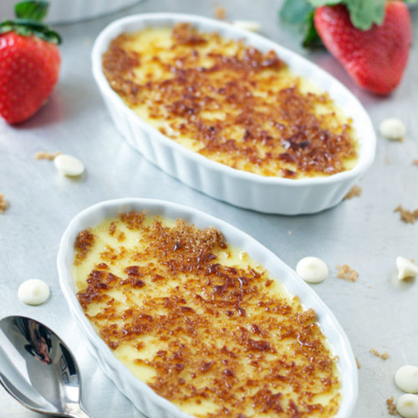 White Chocolate Creme Brulee with Strawberry