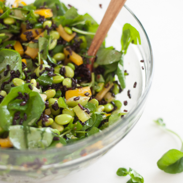 Watercress and Forbidden Rice Salad with Ginger Vinaigrette