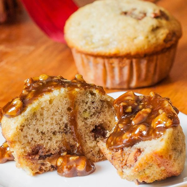 Banana Chocolate Peanut Butter Muffins with Praline Sauce