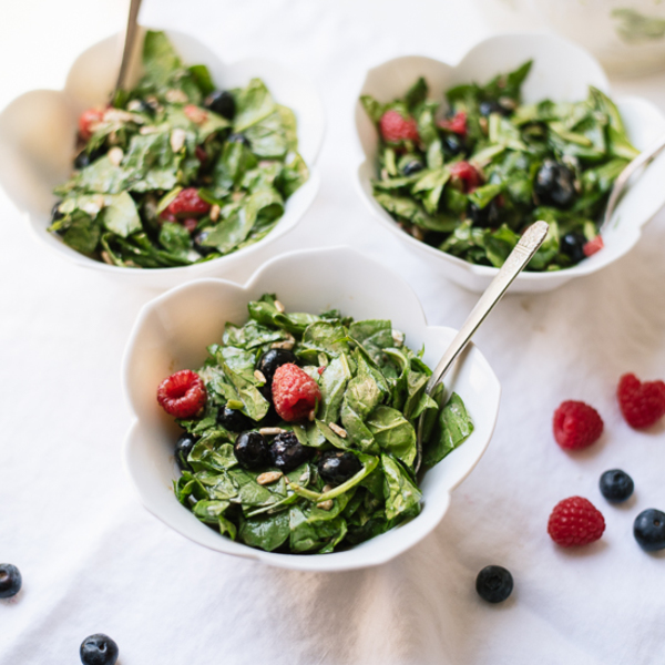 Berry Spinach Salad with Spicy Maple Sunflower Seeds