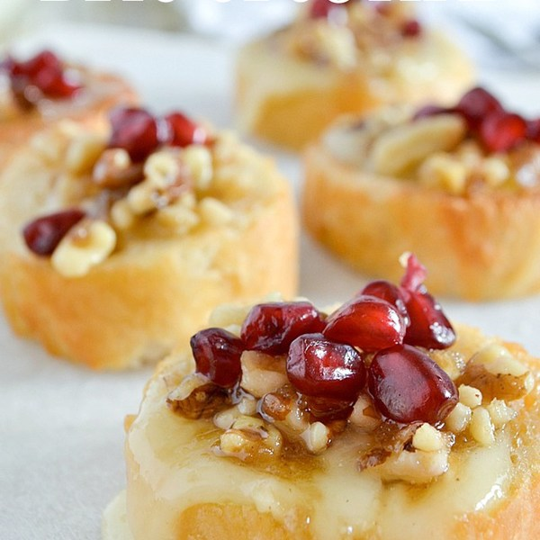 Pomegranate Walnut Brie Crostini