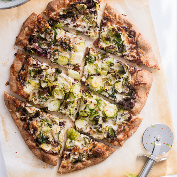 Brussels Sprouts Pizza with Balsamic Red Onions