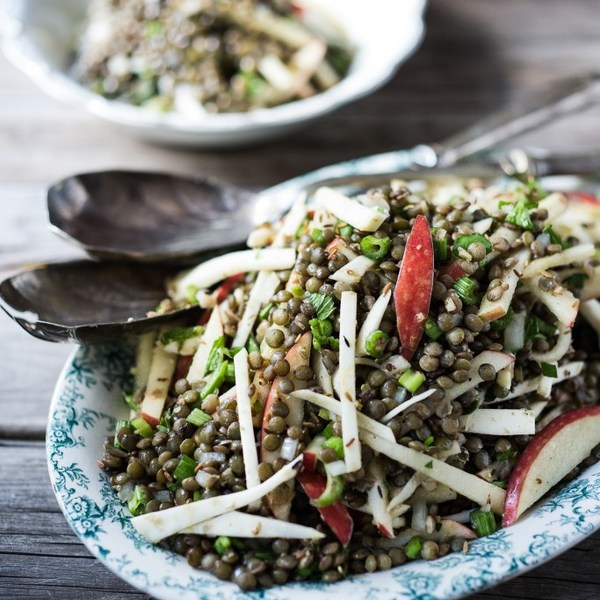 Celeriac, Apple, and Lentil Salad with Cumin Seed Dressing