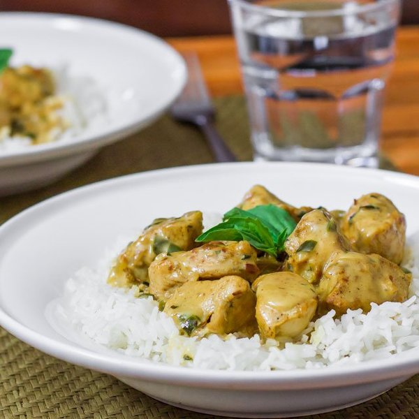 Curry Chicken in Basil Coconut Sauce