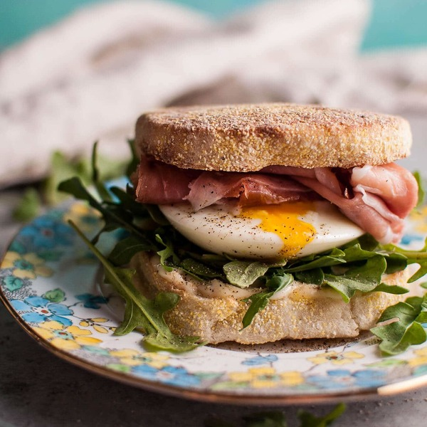 Poached Egg and Prosciutto Brunch Sandwich