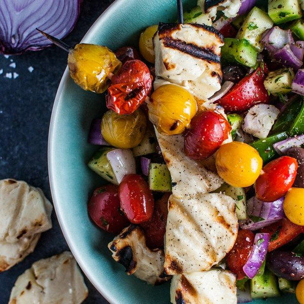 Greek Salad with Grilled Halloumi and Tomatoes