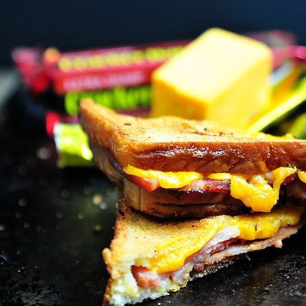 Grilled Cheese Sandwich with Ham and Bacon Recipe