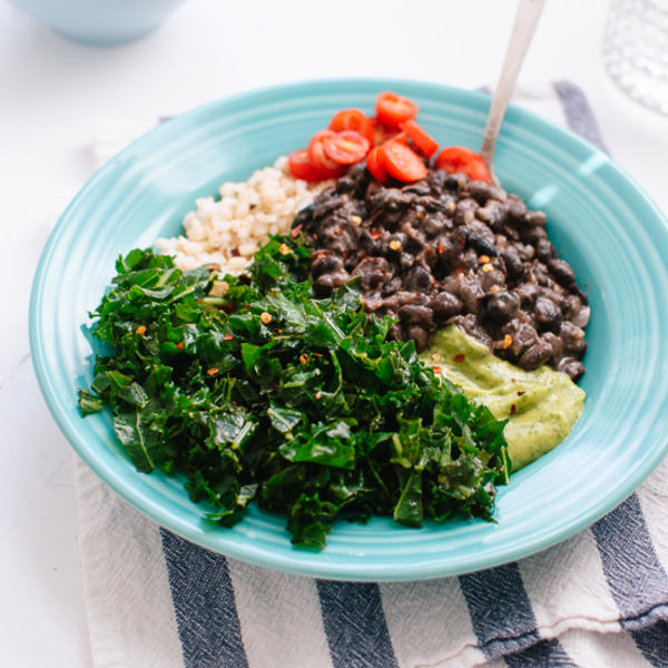 Kale, Black Bean and Avocado Burrito Bowl