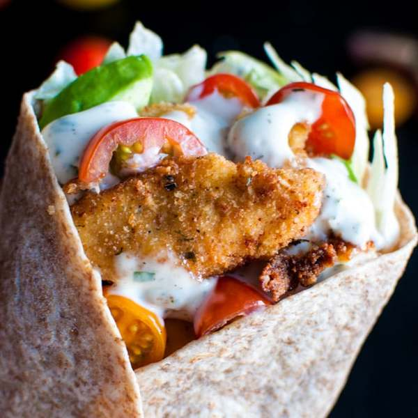 Fried Chicken Wraps with Homemade Ranch Dressing