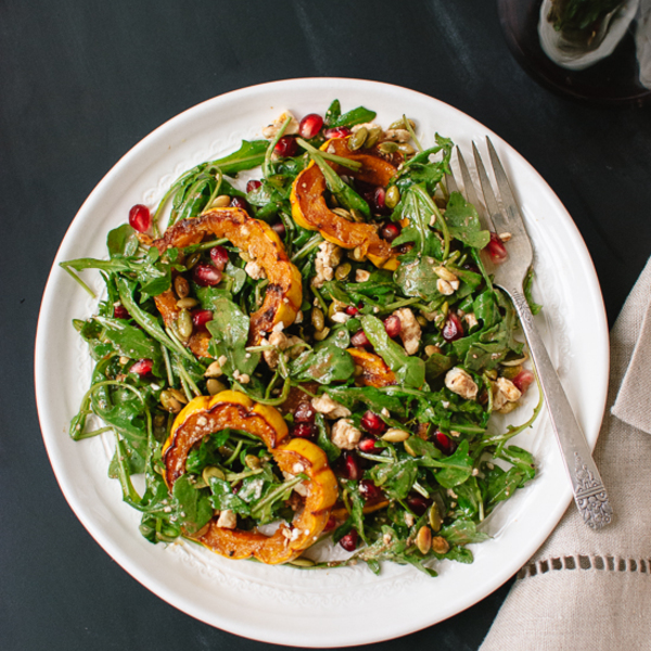 Roasted Delicata Squash, Pomegranate and Arugula Salad