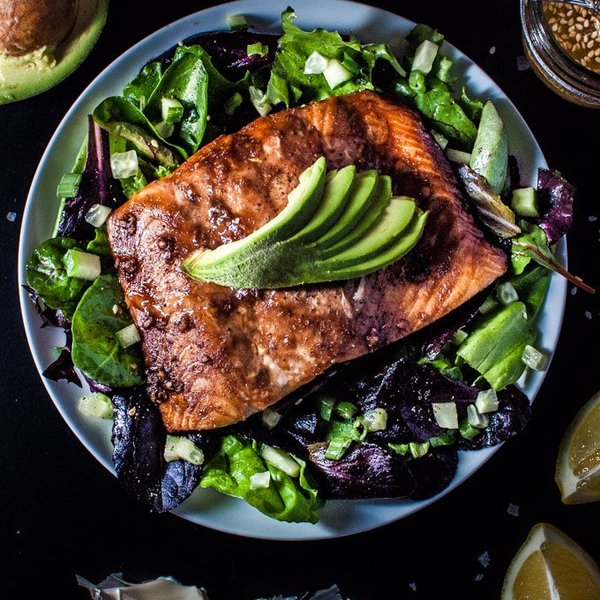 Salmon Salad with a Toasted Sesame Seed Dressing