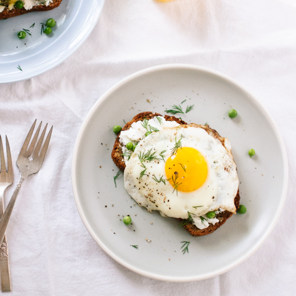 Simple Goat Cheese and Egg Toasts with Fresh Peas and Dill