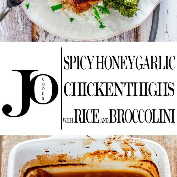 Spicy Honey Garlic Chicken Thighs with Rice and Broccolini