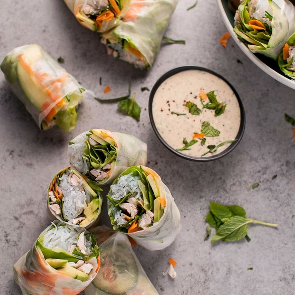 Chicken Salad Rolls with Miso Tarragon Dipping Sauce